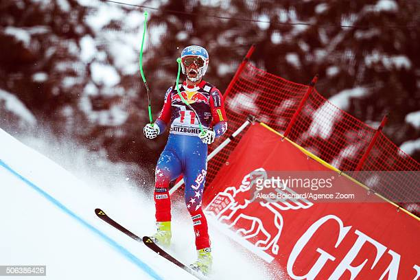 Steven Nyman of the USA crashes out during the Audi FIS Alpine Ski World Cup Men's Downhill on January 23 2016 in Kitzbuehel Austria