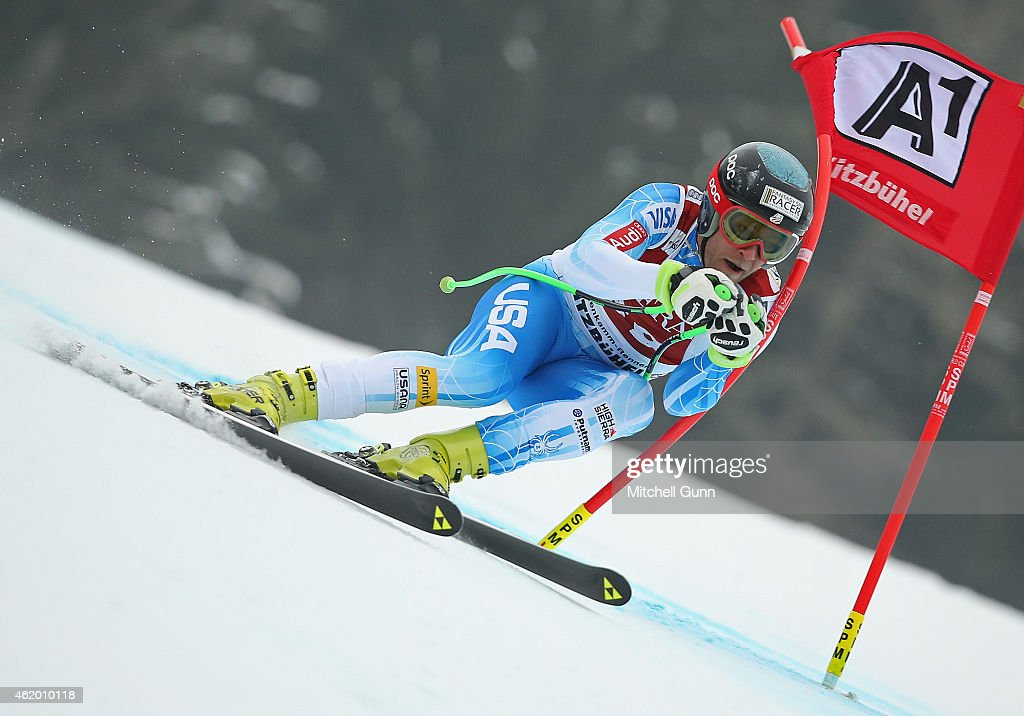 Steven Nyman of The USA races down the Hahnenkamm Course during the Audi FIS Alpine Ski World Cup SuperG race on January 23 2015 in Kitzbuhel Austria