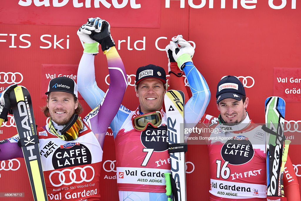 Steven Nyman of the USA takes 1st place, Kjetil Jansrud of Norway takes 2nd place, Dominik Paris of Italy takes 3rd place during the Audi FIS Alpine Ski World Cup Men's Downhill on December 19, 2014 in Val Gardena, Italy.