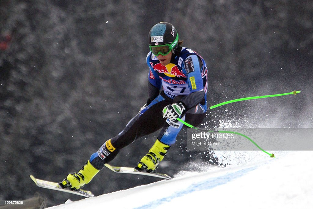 <a gi-track='captionPersonalityLinkClicked' href=/galleries/search?phrase=Steven+Nyman&family=editorial&specificpeople=792834 ng-click='$event.stopPropagation()'>Steven Nyman</a> of USA races down the foggy Hahnenkamm Course during the Audi FIS Alpine Ski World Cup Downhill first official training session on January 22, 2013 in Kitzbuhel, Austria,