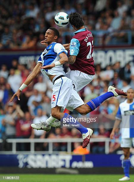 Steven Nzonzi of Blackburn Rovers and Manuel da Costa of West Ham United battle for the ball during the Barclays Premier League match between West...