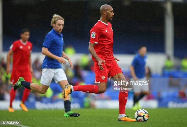 Steven N'Zonzi of Sevilla during a preseason friendly match between Everton and Sevilla at Goodison Park on August 6 2017 in Liverpool England