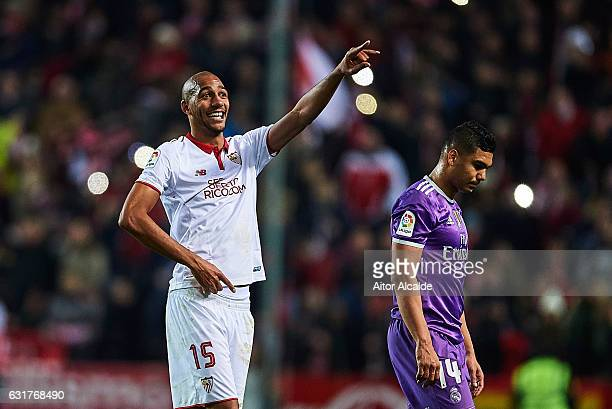 Steven N'Zonzi of Sevilla FC celebrates after winning the match against Real Madrid CF during the La Liga match between Sevilla FC and Real Madrid CF...