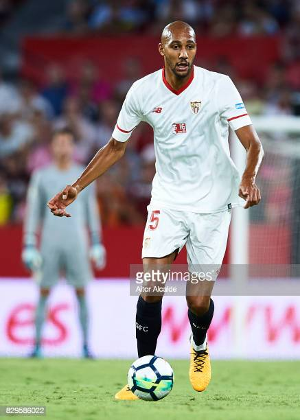 Steven N'Zonzi of Sevilla FC in action during a Pre Season Friendly match between Sevilla FC and AS Roma at Estadio Ramon Sanchez Pizjuan on August...