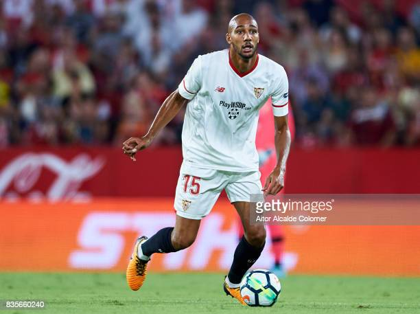 Steven N'Zonzi of Sevilla FC in action during the La Liga match between Sevilla and Espanyol at Estadio Ramon Sanchez Pizjuan on August 19 2017 in...