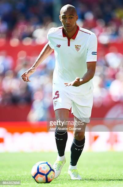Steven N'Zonzi of Sevilla FC in action during the La Liga match between Sevilla FC and Real Sporting de Gijon at Estadio Ramon Sanchez Pizjuan on...