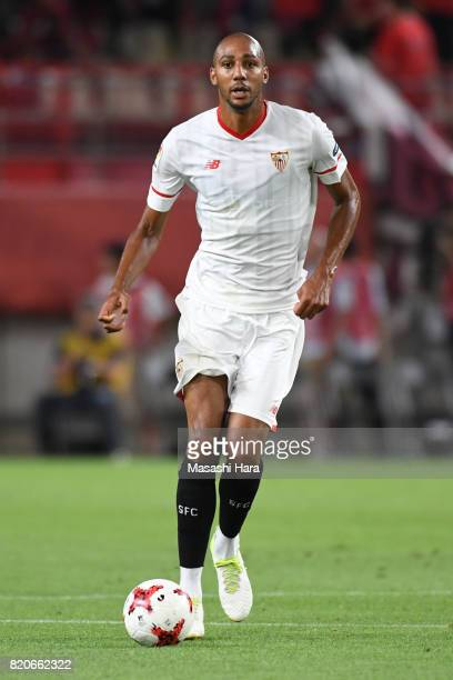 Steven Nzonzi of Sevilla FC in action during the preseason friendly match between Kashima Antlers and Sevilla FC at Kashima Soccer Stadium on July 22...