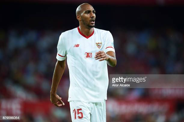 Steven N'Zonzi of Sevilla FC looks on during a Pre Season Friendly match between Sevilla FC and AS Roma at Estadio Ramon Sanchez Pizjuan on August 10...