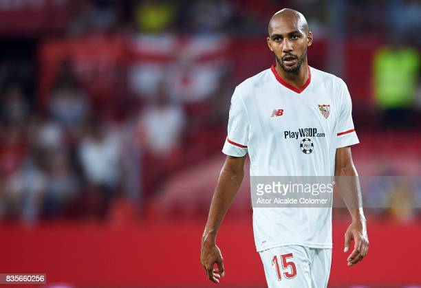 Steven N'Zonzi of Sevilla FC looks on during the La Liga match between Sevilla and Espanyol at Estadio Ramon Sanchez Pizjuan on August 19 2017 in...