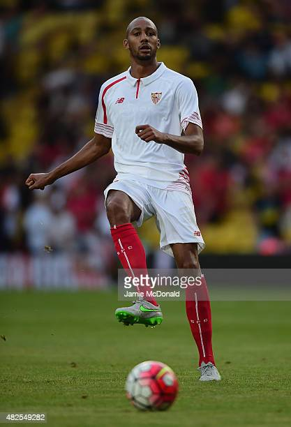 Steven N'Zonzi of Sevilla in action during the pre season match beween Watford and Sevilla at Vicarage Road on July 31 2015 in Watford England