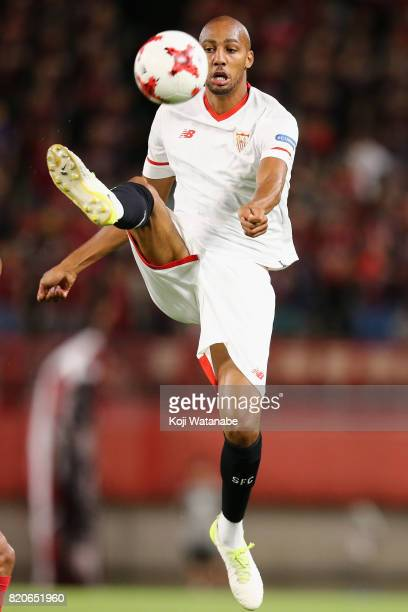 Steven N'Zonzi of Sevilla in action during the preseason friendly match between Kashima Antlers and Sevilla FC at Kashima Soccer Stadium on July 22...