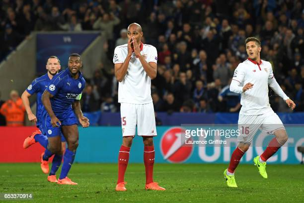 Steven N'Zonzi of Sevilla reacts after seeing his penalty saved by Kasper Schmeichel of Leicester City during the UEFA Champions League Round of 16...