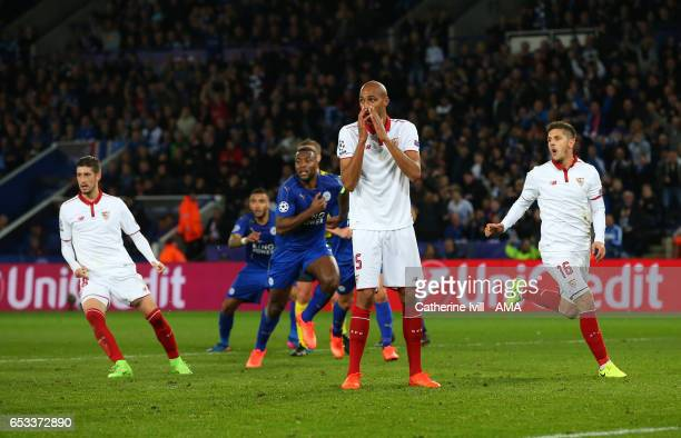 Steven N'Zonzi of Sevilla reacts after seeing his penalty saved during the UEFA Champions League Round of 16 second leg match between Leicester City...
