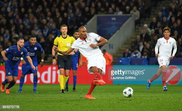 Steven N'Zonzi of Sevilla takes a penalty only to see it saved by Kasper Schmeichel of Leicester City during the UEFA Champions League Round of 16...