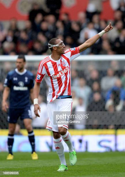 Steven Nzonzi of Stoke celebrates after scoring the opening during the Barclays Premier League match between Stoke City and Tottenham Hotspur at...