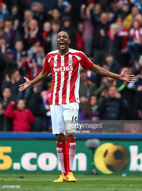 Steven N'Zonzi of Stoke City celebrates scoring his team's second goal during the Barclays Premier League match between Stoke City and Tottenham...