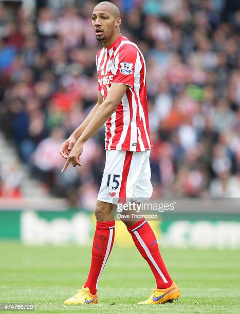 Steven N'Zonzi of Stoke City during the Barclays Premier League match between Stoke City and Liverpool at the Britannia Stadium on May 24 2015 in...