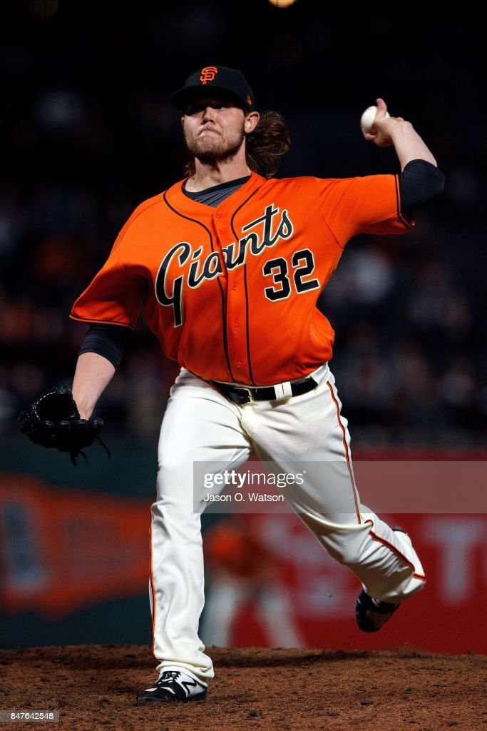 Steven Okert #32 of the San Francisco Giants pitches against the Arizona Diamondbacks during the ninth inning at AT&T Park on September 15, 2017 in San Francisco, California. The Arizona Diamondbacks defeated the San Francisco Giants 3-2.