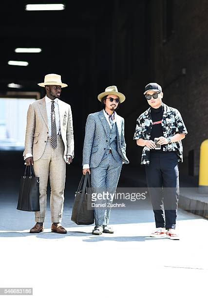 Steven Onoja Denny Balmaceda and Paul Jin are seen outside the Carlos Campos show during New York Fashion Week Men's S/S 2017 Day 2 on July 12 2016...
