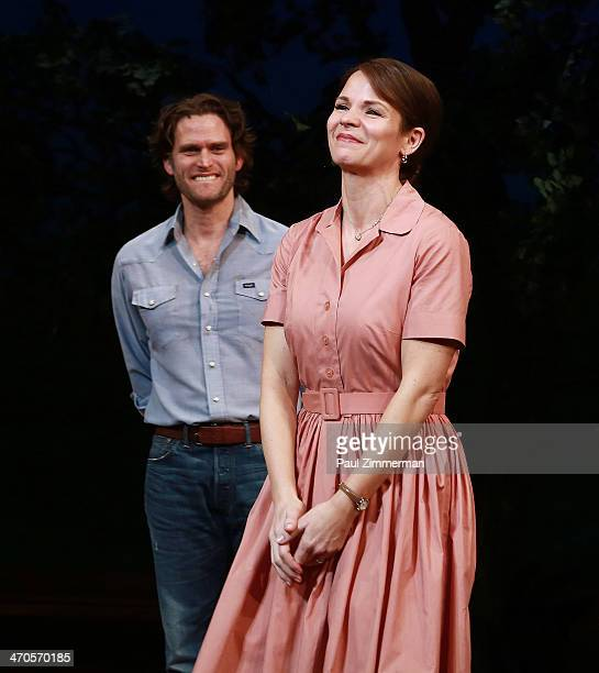 Steven Pasquale and Kelli O'Hara during the curtain call of the production of 'The Bridges Of Madison County' at Gerald Schoenfeld Theatre on...