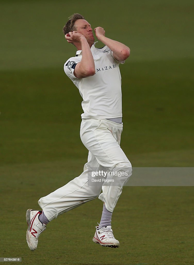 Steven Patterson of Yorkshire bowls during the Specsavers County Championship division one match between Nottinghamshire and Yorkshire at the Trent Bridge on May 3, 2016 in Nottingham, England.