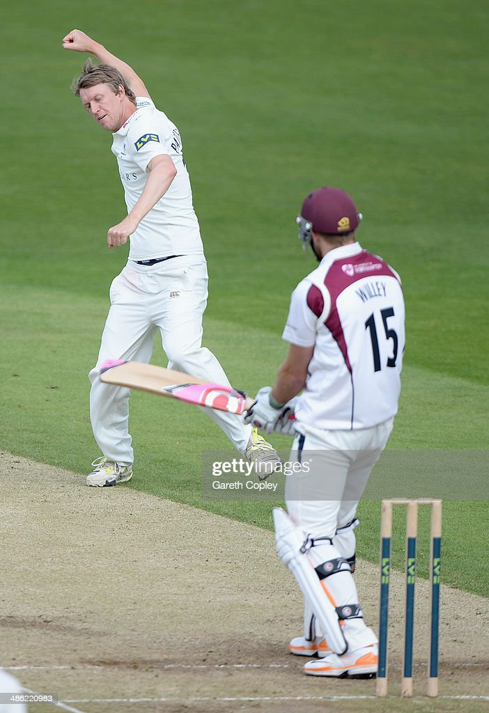 Steven Patterson of Yorkshire celebrates dismissing David Willey of Northamptonshire during day four of the LV County Championship division One match between Yorkshire and Northamptonshire at Headingley on April 23, 2014 in Leeds, England.