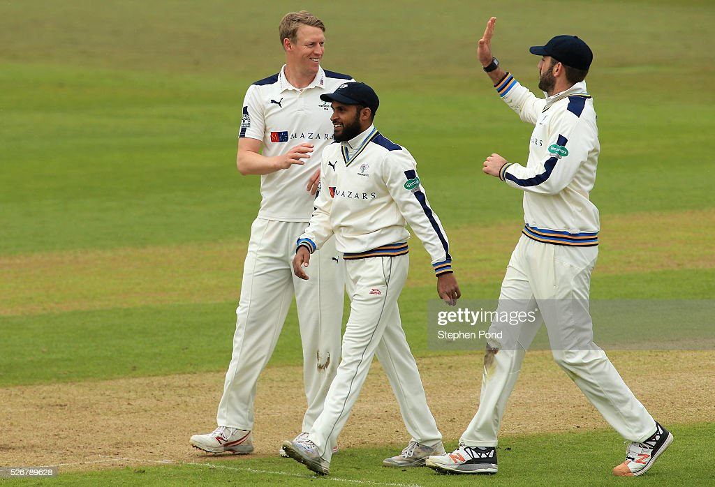<a gi-track='captionPersonalityLinkClicked' href=/galleries/search?phrase=Steven+Patterson+-+Cricket+Player&family=editorial&specificpeople=15562678 ng-click='$event.stopPropagation()'>Steven Patterson</a> of Yorkshire celebrates taking a wicket during day one of the Specsavers County Championship Division One match between Nottinghamshire and Yorkshire at Trent Bridge on May 1, 2016 in Nottingham, England.