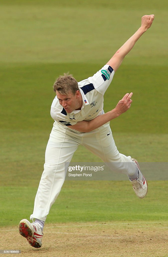 <a gi-track='captionPersonalityLinkClicked' href=/galleries/search?phrase=Steven+Patterson+-+Cricket+Player&family=editorial&specificpeople=15562678 ng-click='$event.stopPropagation()'>Steven Patterson</a> of Yorkshire in action bowling during day one of the Specsavers County Championship Division One match between Nottinghamshire and Yorkshire at Trent Bridge on May 1, 2016 in Nottingham, England.