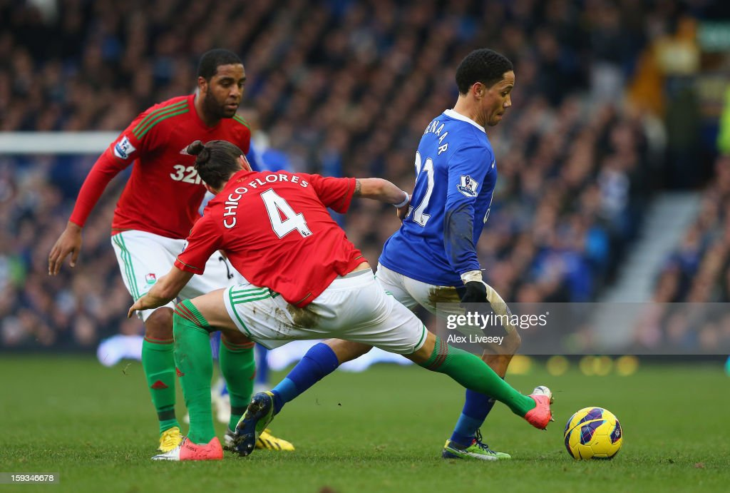 <a gi-track='captionPersonalityLinkClicked' href=/galleries/search?phrase=Steven+Pienaar&family=editorial&specificpeople=787271 ng-click='$event.stopPropagation()'>Steven Pienaar</a> of Everton beats Chico Flores of Swansea City during the Barclays Premier League match between Everton and Swansea City at Goodison Park on January 12, 2013 in Liverpool, England.