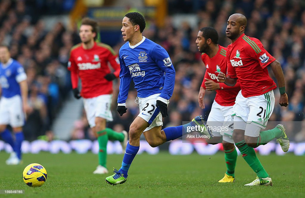 Steven Pienaar of Everton beats Dwight Tiendalli of Swansea City during the Barclays Premier League match between Everton and Swansea City at Goodison Park on January 12, 2013 in Liverpool, England.