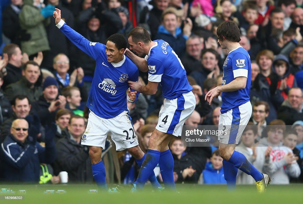 Steven Pienaar of Everton celebrates his goal during the Barclays Premier League match between Everton and Reading at Goodison Park on March 2 2013...