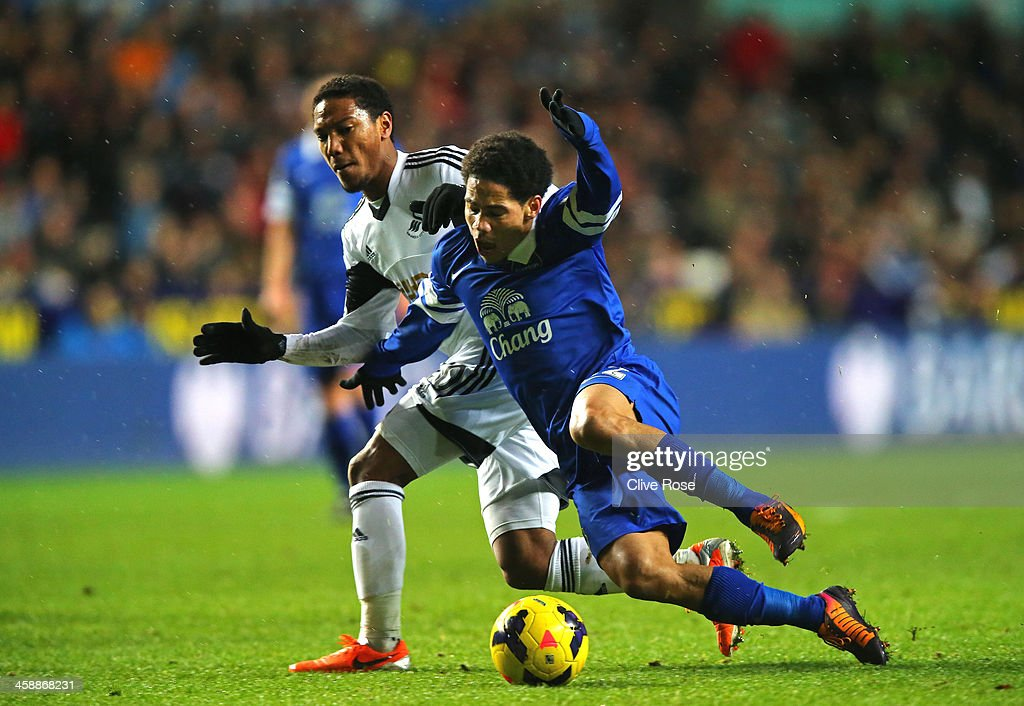 Steven Pienaar of Everton goes down after contact with Jonathan de Guzman of Swansea during the Barclays Premier League match between Swansea City and Everton at the Liberty Stadium on December 22, 2013 in Swansea, Wales.
