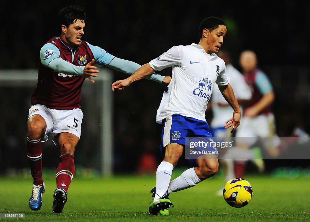 <a gi-track='captionPersonalityLinkClicked' href=/galleries/search?phrase=Steven+Pienaar&family=editorial&specificpeople=787271 ng-click='$event.stopPropagation()'>Steven Pienaar</a> (R) of Everton holds off the challenge of <a gi-track='captionPersonalityLinkClicked' href=/galleries/search?phrase=James+Tompkins&family=editorial&specificpeople=3130555 ng-click='$event.stopPropagation()'>James Tompkins</a> (L) of West Ham United during the Barclays Premier League match between West Ham United and Everton at the Boleyn Ground on December 22, 2012 in London, England.