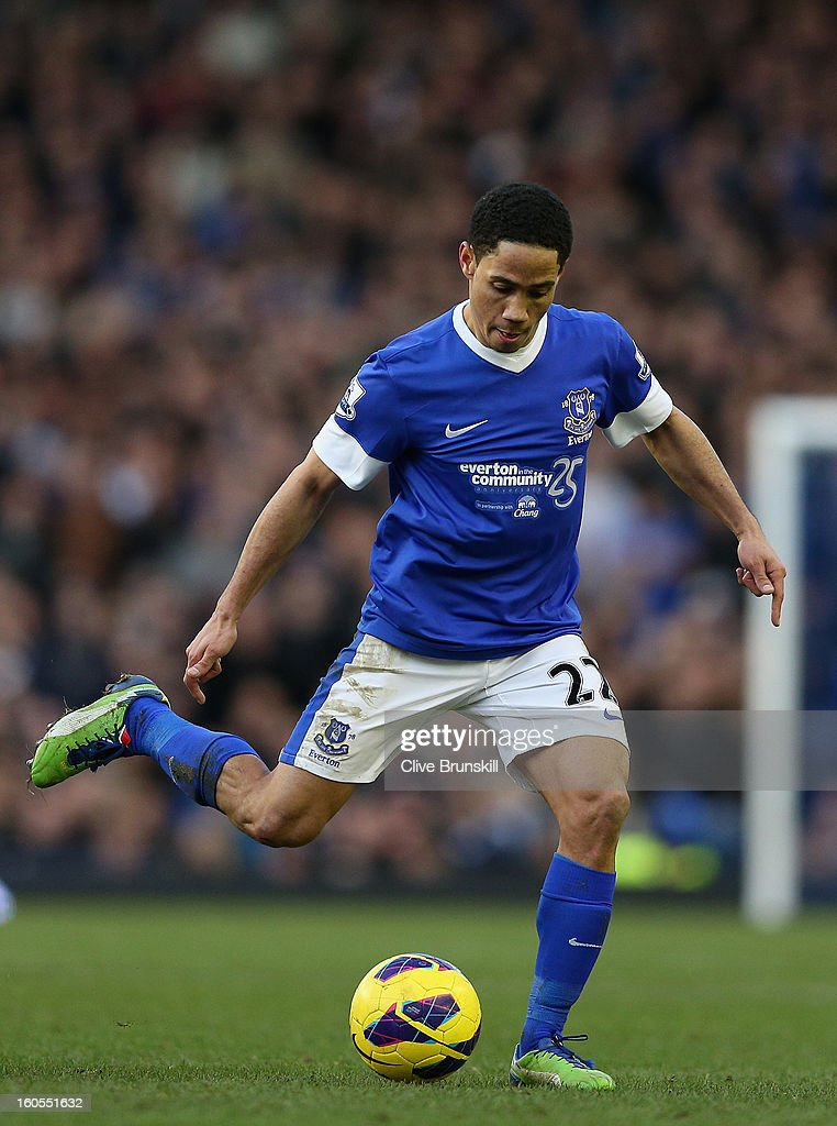 Steven Pienaar of Everton in action during the Barclays Premier League match between Everton and Aston Villa at Goodison Park on February 2, 2013 in Liverpool, England.