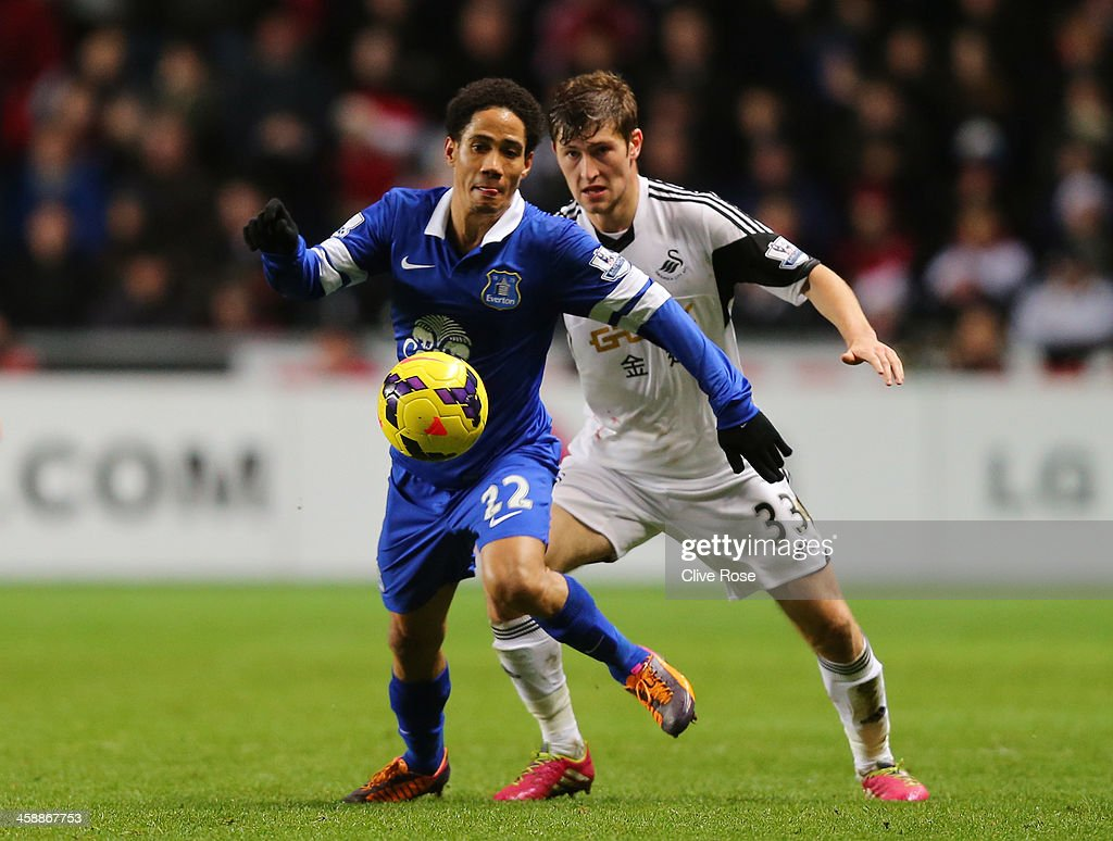 Steven Pienaar of Everton is pursued by Ben Davies of Swansea during the Barclays Premier League match between Swansea City and Everton at the Liberty Stadium on December 22, 2013 in Swansea, Wales.