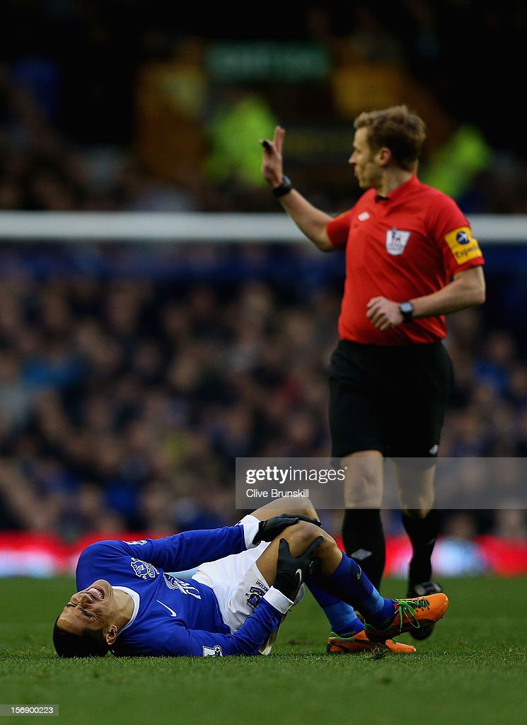 <a gi-track='captionPersonalityLinkClicked' href=/galleries/search?phrase=Steven+Pienaar&family=editorial&specificpeople=787271 ng-click='$event.stopPropagation()'>Steven Pienaar</a> of Everton lies injured during the Barclays Premier League match between Everton and Norwich City at Goodison Park on November 24, 2012 in Liverpool, England.