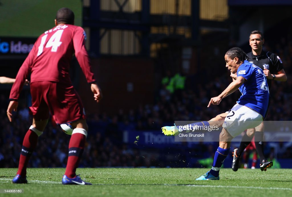 <a gi-track='captionPersonalityLinkClicked' href=/galleries/search?phrase=Steven+Pienaar&family=editorial&specificpeople=787271 ng-click='$event.stopPropagation()'>Steven Pienaar</a> of Everton scores the first goal during the Barclays Premier League match between Everton and Newcastle United at Goodison Park on May 13, 2012 in Liverpool, England.