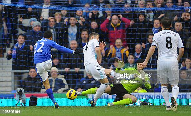 Steven Pienaar of Everton scores the opening goal during the Barclays Premier League match between Everton and Chelsea at Goodison Park on December...