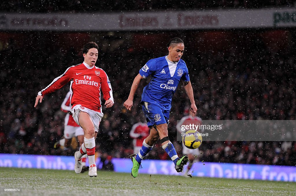 <a gi-track='captionPersonalityLinkClicked' href=/galleries/search?phrase=Steven+Pienaar&family=editorial&specificpeople=787271 ng-click='$event.stopPropagation()'>Steven Pienaar</a> of Everton scores their second goal during the Barclays Premier League match between Arsenal and Everton at Emirates Stadium on January 9, 2010 in London, England.