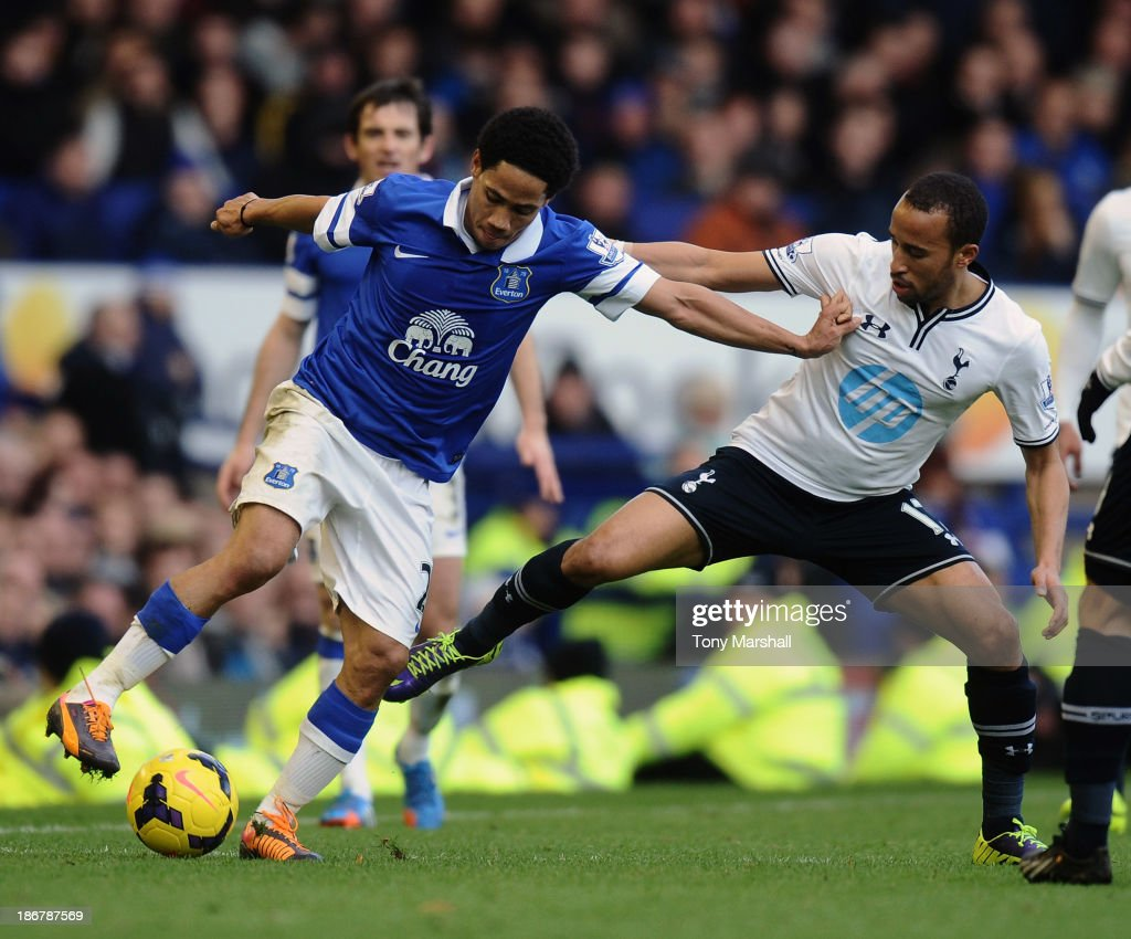 Steven Pienaar (L) of Everton tackled by Andros Townsend of Tottenham Hotspur during the Barclays Premier League match between Everton and Tottenham Hotspur at Goodison Park on November 3, 2013 in Liverpool, England.