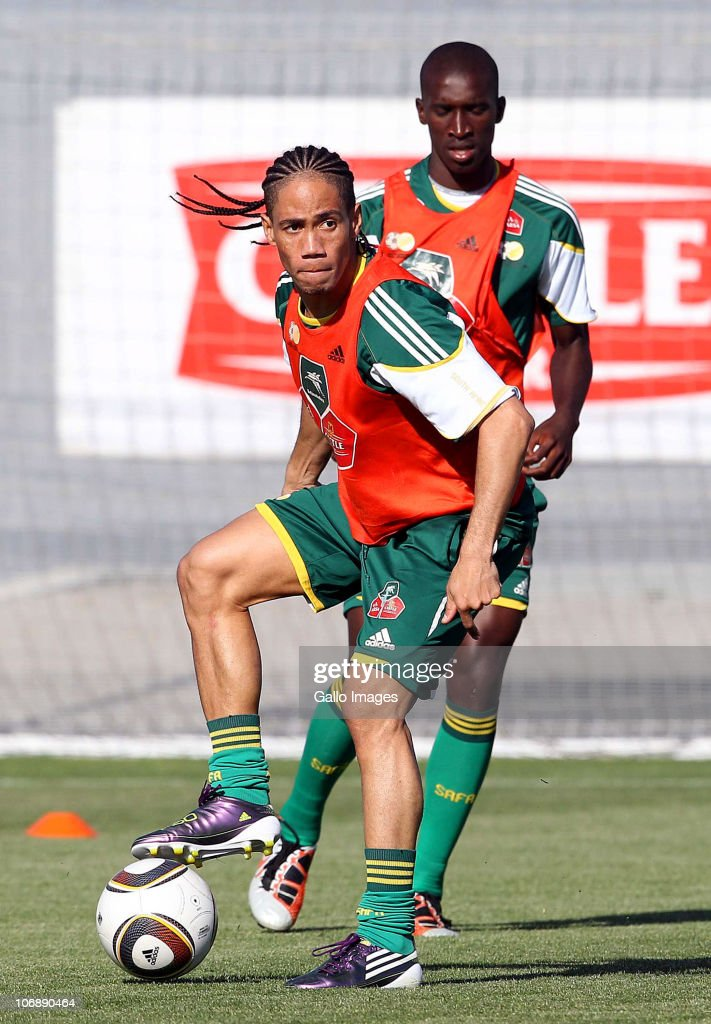 Steven Pienaar of South Africa in action during a South Africa team training session ahead of the Nelson Mandela Challenge Cup match against the USA at the Philippi Stadium on November 15, 2010 in Cape Town, South Africa.
