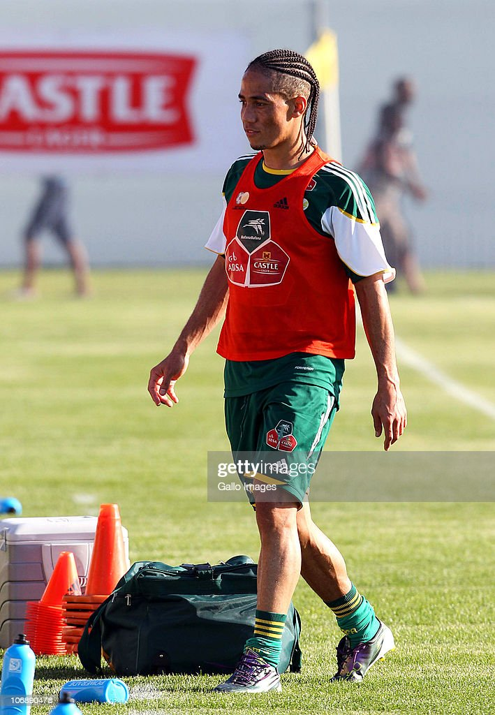 Steven Pienaar of South Africa looks on during a South Africa team training session ahead of the Nelson Mandela Challenge Cup match against the USA at the Philippi Stadium on November 15, 2010 in Cape Town, South Africa.