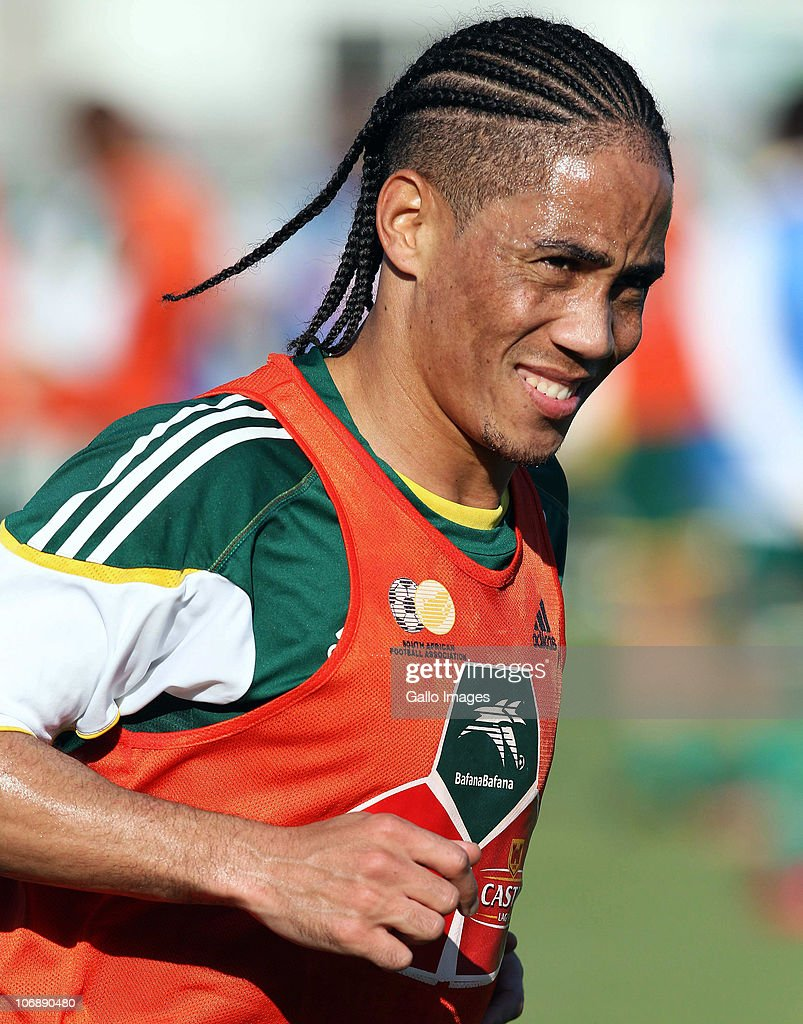 Steven Pienaar of South Africa smiles during a South Africa team training session ahead of the Nelson Mandela Challenge Cup match against the USA at the Philippi Stadium on November 15, 2010 in Cape Town, South Africa.