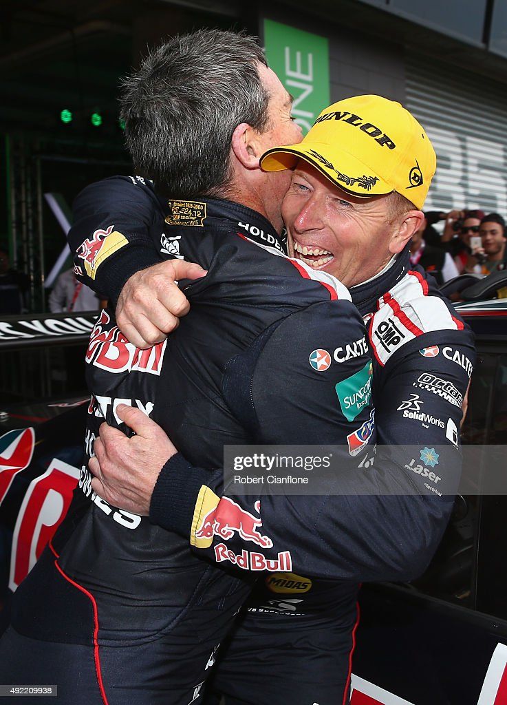 Steven Richards and Craig Lowndes of the #888 Red Bull Racing Australia Holden celebrate after winning the Bathurst 1000, which is race 25 of the V8 Supercars Championship at Mount Panorama on October 11, 2015 in Bathurst, Australia.