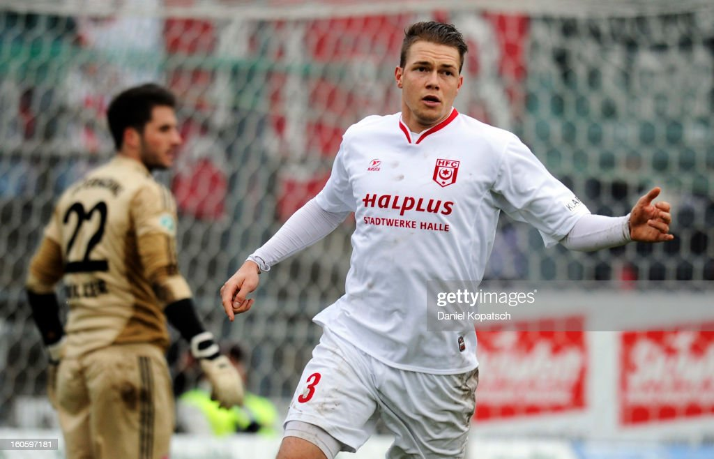 Steven Ruprecht of Halle celebrates his team's third goal during the third Bundesliga match between SpVgg Unterhaching and Hallescher FC on February 3, 2013 in Unterhaching, Germany.