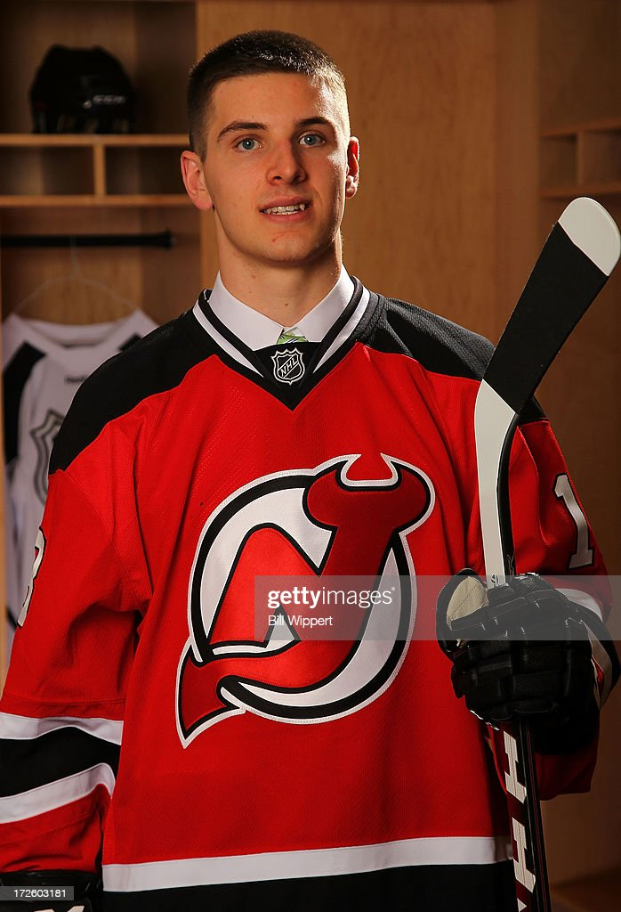 Steven Santini 42nd pick overall by the New Jersey Devils poses for a portrait during the 2013 NHL Draft at Prudential Center on June 30 2013 in...