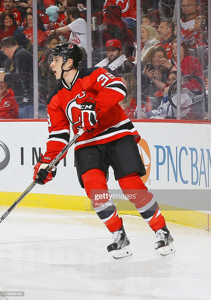 Steven Santini of the New Jersey Devils playing in his first NHL game skates during the game against the Toronto Maple Leafs at Prudential Center on...