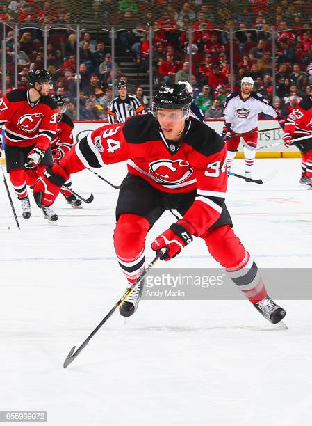 Steven Santini of the New Jersey Devils skates against the Columbus Blue Jackets during the game at Prudential Center on March 19 2017 in Newark New...