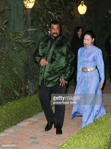Steven Seagal and Erdenetuya Seagal are seen at Taglyan Complex on February 23 2017 in Los Angeles California