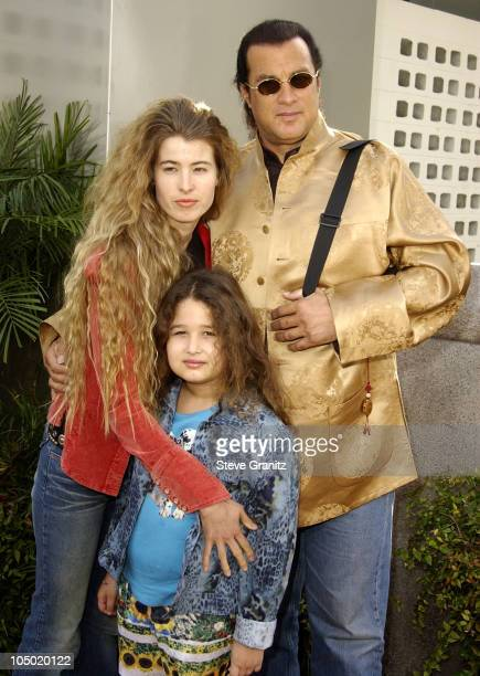 Steven Seagal Arissa Wolf daughter Savannah during 'The Wild Thornberrys Movie' Premiere at Cinerama Dome in Hollywood California United States